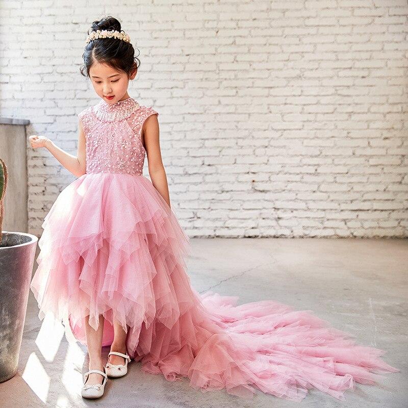 Enfants robe traînant princesse tutu femme 2018 nouveau sans manches fleur fille robe costumes de mariage passerelle