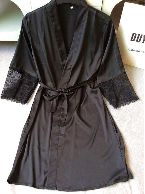 Negro Sexy Ladies Ropa de Dormir de Encaje Satinado Robe Gown Camisón Sólido Suave Kimono Albornoz ropa de Dormir Batas de Boda de la Novia de dama de Honor