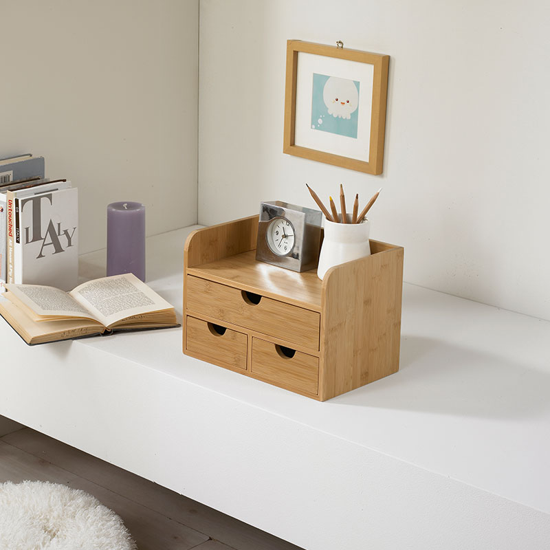 Multi-Function Bamboo Table Organizer Pen Container Cosmetics Sundries Förvaringslåda med lådor Natural Wood Tissue Box