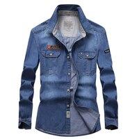 AFS JEEP 2016 NEW Spring Autumn Blue Men S Denim Cotton Dress Shirts New Hombre Asia