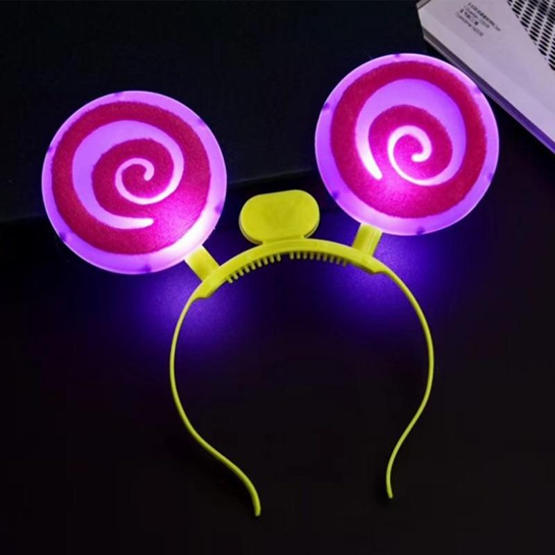 Christmas Halloween LEDFlashingGlow Headband Women Girls Lollipop Light Up Hairbands Hair Accessories Glow Party Supplies (7)
