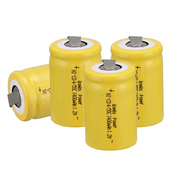 Anmas Power 1.2V 1400mAh Rechargeable Battery 4Pcs Yellow Color Ni-CD 4/5 Sub C Ni-CD Cell with Welding Tabs image