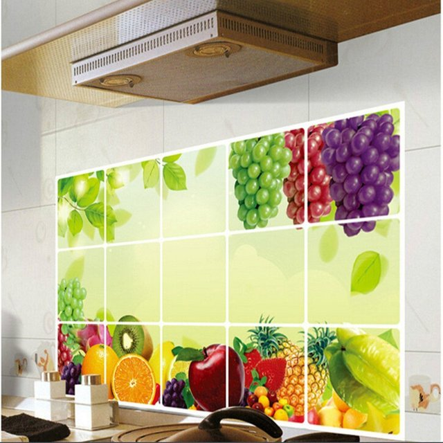 Fruit Grapes Background Kitchen Stickers Oil Proof