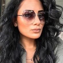 Transparent gradient sunglasses women oversized clear lens sun glasses rimless f