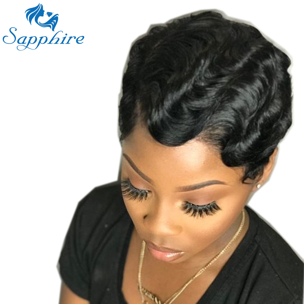 Sapphire Hair 130 Density Short Wig Brazilian Ocean Wave Human Hair Wigs For Women Natural Black