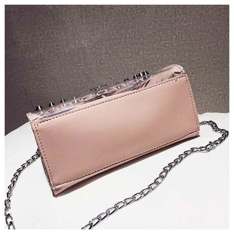 18 Summer Fashion New Handbag High quality PVC Transparent Women bag Sweet Printed Letter Square Phone bag Chain Shoulder bag 22