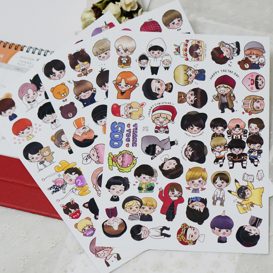 100pcs Creative Cute Self-made BTS Q version love pretty boys Scrapbooking Stickers /Decorative Sticker /DIY Craft Photo Albums