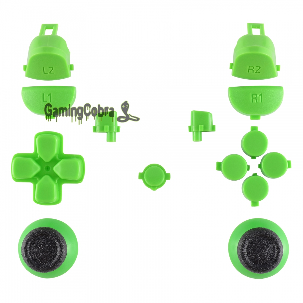 Solid Green Thumbsticks Buttons for PS4 Pro Slim Controller CUH-ZCT2 JDM-040