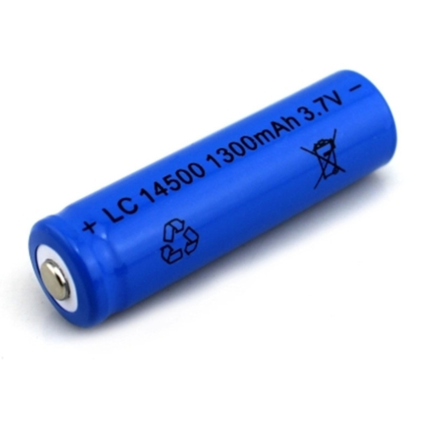 1pcs/lot SHSEJA High Capacitance 14500 Battery 3.7V 1300mAh Rechargeable Li-ion Battery For Led Flashlight Batery Battery Newest