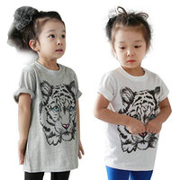 New 2017 Summer fashion Baby Girl Kids Tiger Printed Casual T-shirt Cotton Blouse Shirt Clothes