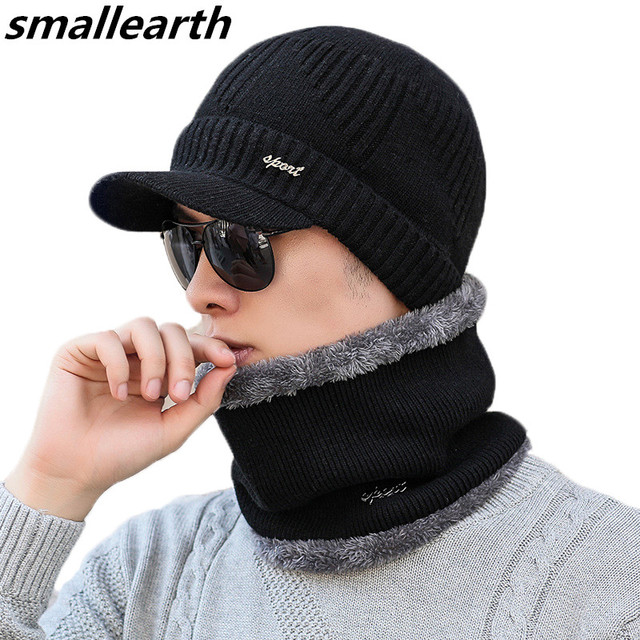0fc347aa334 Autumn Winter Male Hat Plus Velvet Thick Knitted Wool Hat Scarf Set Men  Warm Beanies Fashion Snow Earflaps Plush Collar Cap Sets
