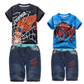 Children Spiderman Sets Kids Boys Clothes T Shirt + Shorts Jeans Pants Summer Child Baby Boy Clothing Twinset For 2 4 6 8 10 Yrs