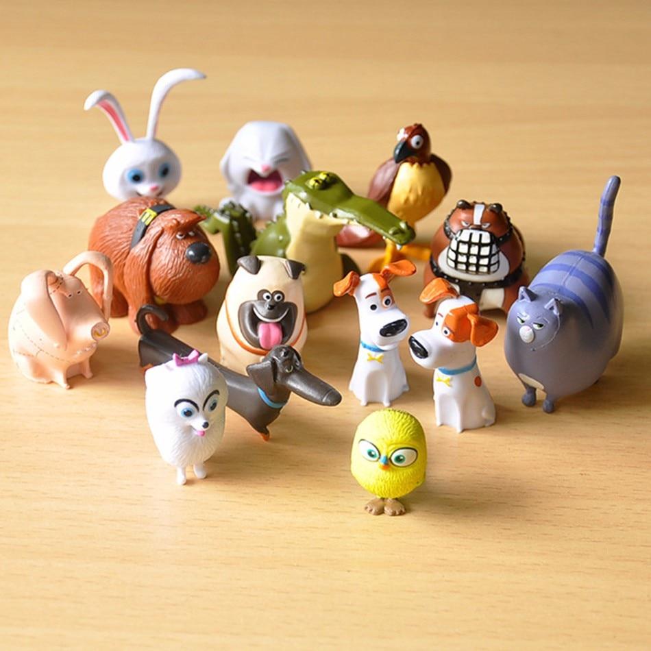 Cute 14pcs/lot The Animals Pets Snowball Gidget Mel Max Duke Dogs Cats Rabbit PVC Action Figure Toys Juguetes Decoration