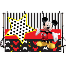 Vinyl Photography Backgrounds Micky Black White Stripes Stars Cartoon Character custom Happy Birthday Party Banner Photocall