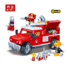 BanBao Fire Educational Building Blocks Toys For Children Kids Gifts City Hero Firefighters Cars Pullback Stickers