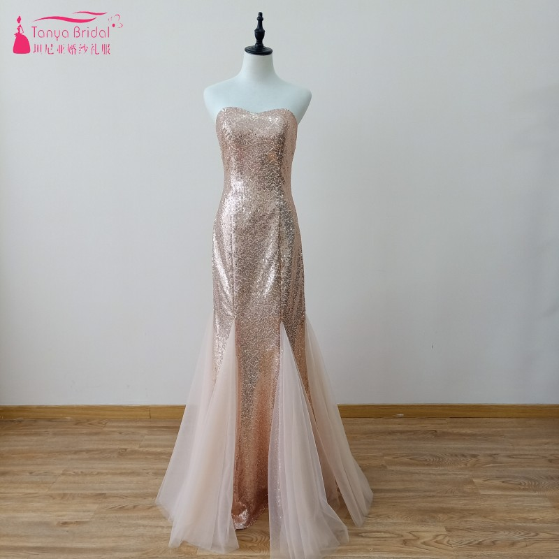 Gold mermaid Long Prom Dresses Sequined Formal Wear Special Occasion Dress Gown vestido de fiesta Prom