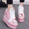 2017 Весна Осень Корейских Женщин Мода Cute Hello Kitty Котенок Шаблон Шнуровкой Платформа Скрытый Клин Высокий Каблук Повседневная Обувь G525