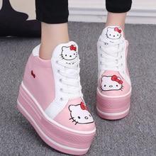 2017 Spring Autumn Korean Women Fashion Cute Hello Kitty Kitten Pattern Lacing Platform Hidden Wedge High Heel Casual Shoes G525