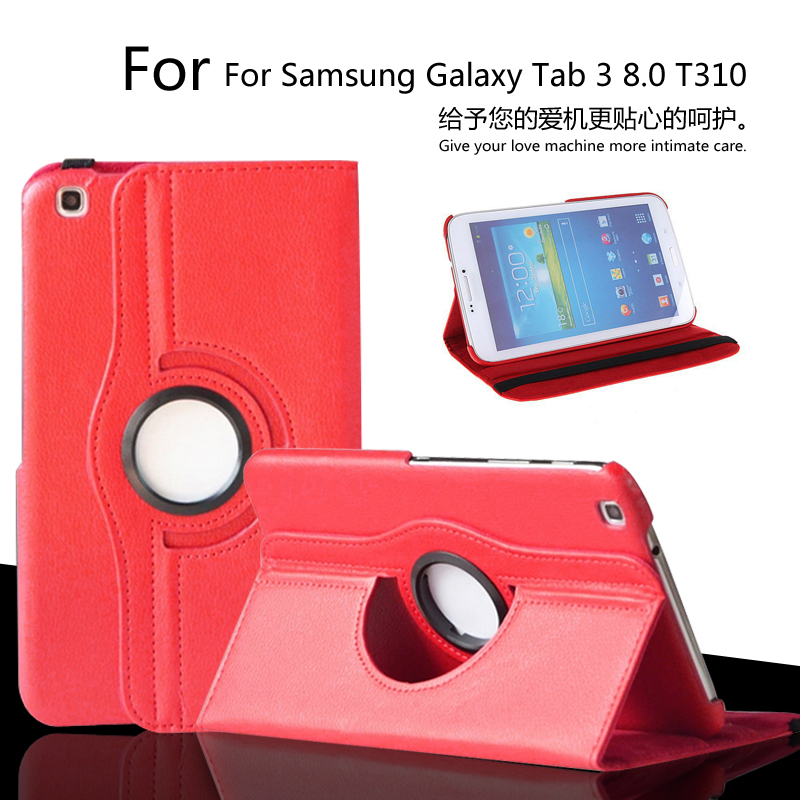 360 Degree Rotating PU Leather Case Cover For Samsung Galaxy Tab 3 8 8 inch 8.0 T310 T311 T315 Tablet free shipping + Film 8 inch 360 degree rotation pu leather case for 8 inch tablet pc black