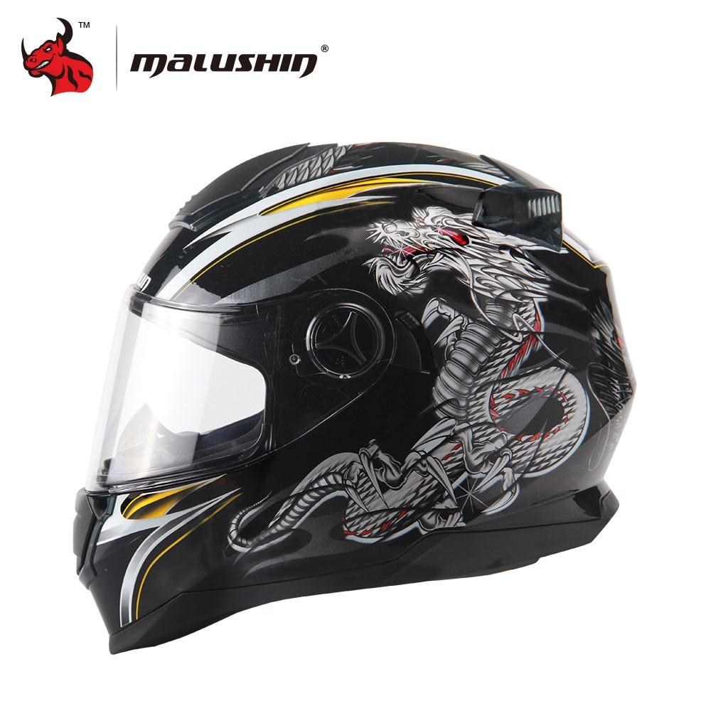 MALUSHUN Full Face Motorcycle Helmet Dragon Printing Full Face Riding Helmet Moto Helmets Capacete De Moto M/L/XL/XXL