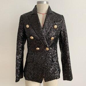 Image 2 - Alta calle elegante 2020 chaqueta Runway mujer doble botonadura Metal botones de León lentejuelas brillante chaqueta