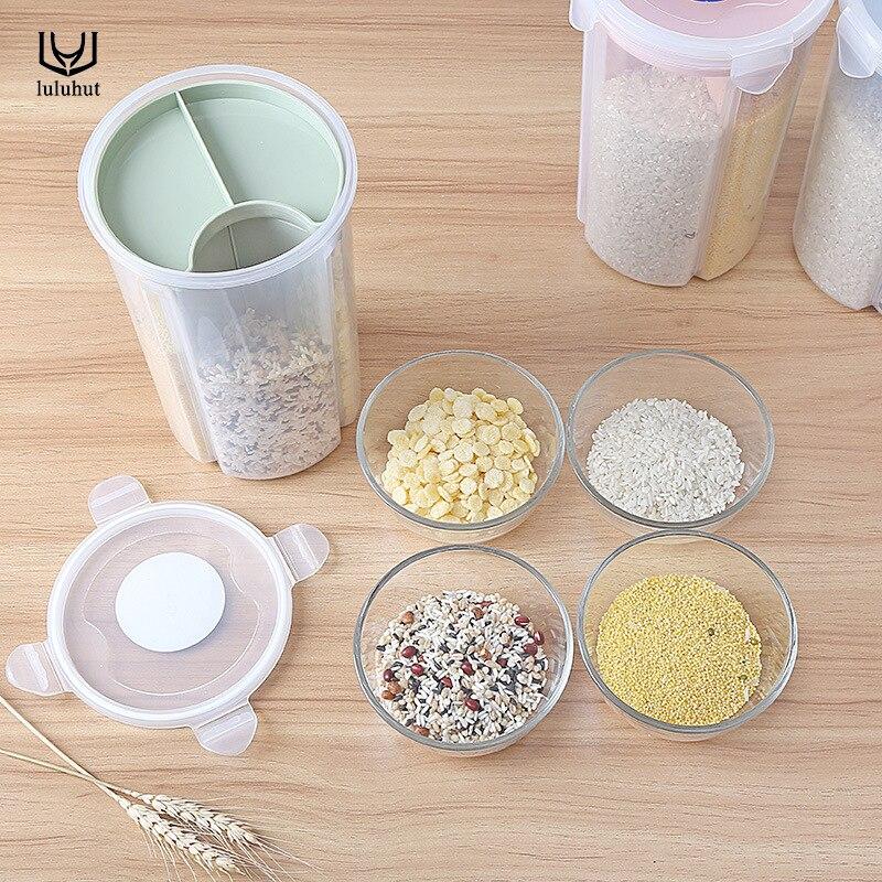 luluhut opslag flessen potten keuken plastic opbergdoos transparant - Home opslag en organisatie