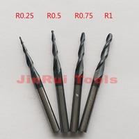 4pcs Lot R0 25 R0 5 R0 75 R1 0 3 175mm 1 8 Shank HRC55