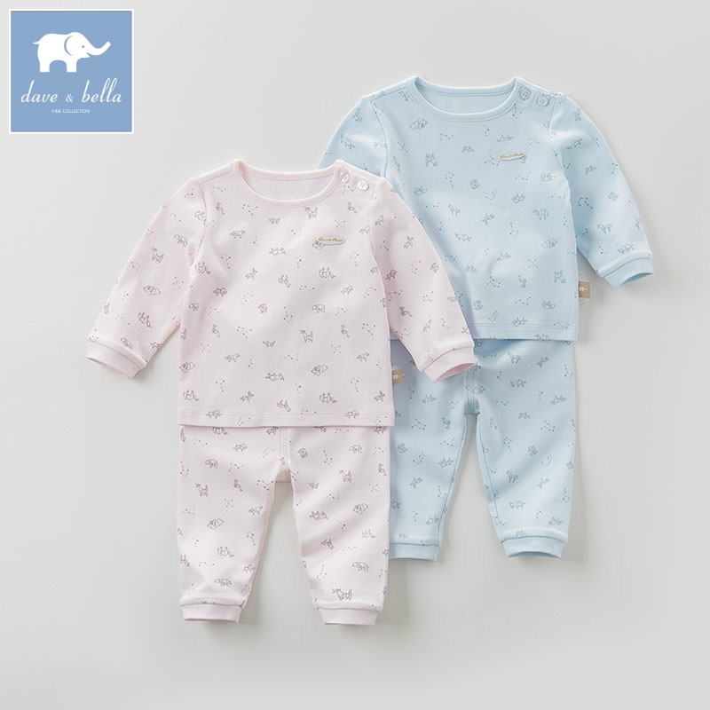 DB6063 dave bella autumn baby sleepwear infant toddle pajamas printed 100% cotton sleepwear children pajamas set