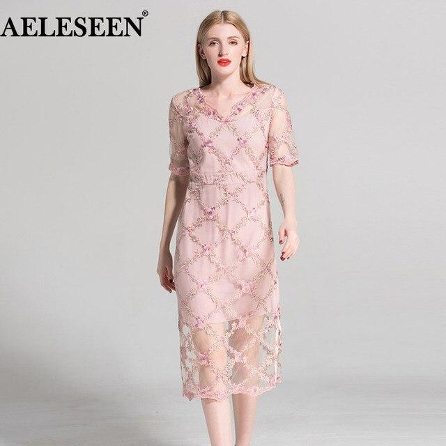 733d035f18ee Plus Size XXXL Luxury Women Dresses 2018 New Summer Short Sleeve Flower  Embroidery Mesh Pink Sexy Mesh Elegant V-neck Dress