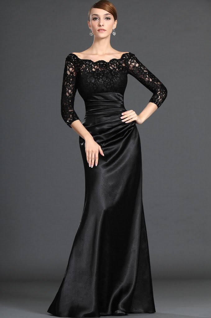 New Black Lace Scoop neck Formal Evening Gowns Prom Party Dresses ...