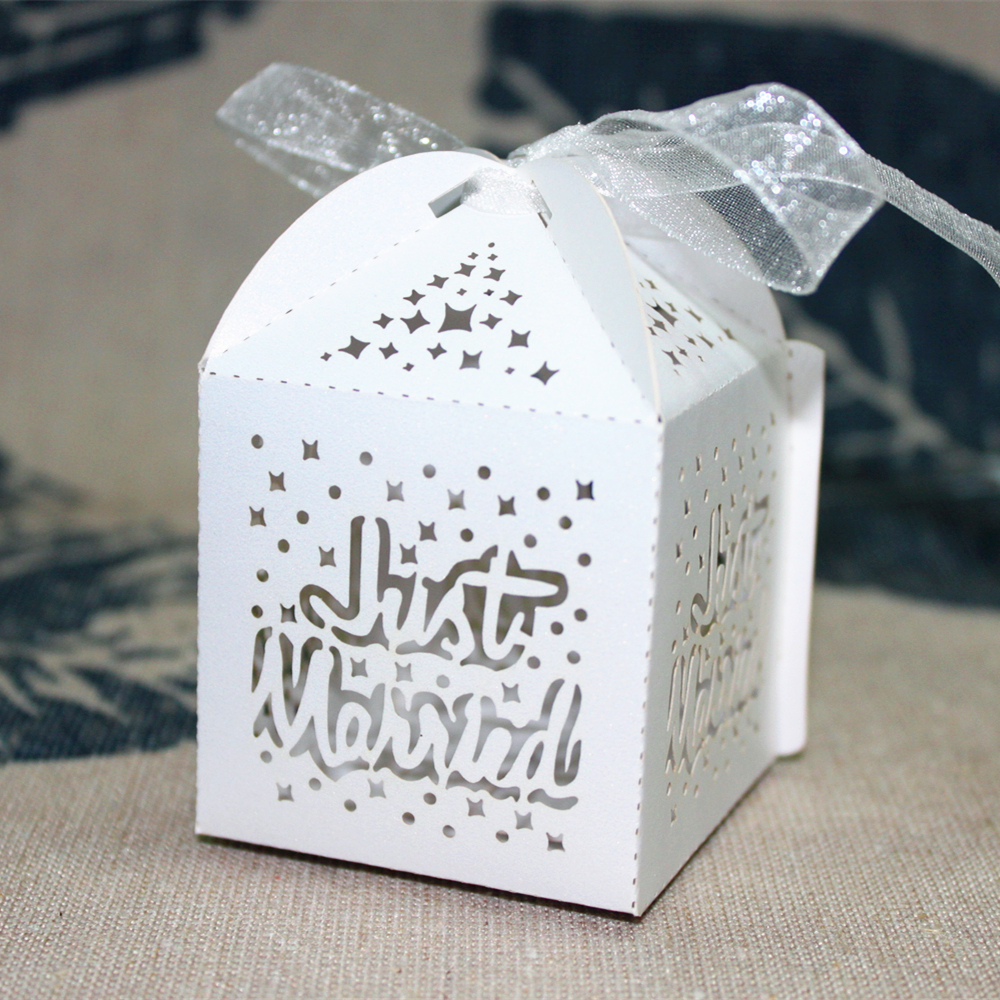 50pcs Just Married Laser Cut Wedding Favor Box Candy Gift Sweet Box ...