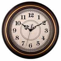12-Inch Silenzioso Non Ticchettio Rotonda Orologi da Parete, Orologi da Parete Decorativo Stile Vintage, cucina di Casa/Soggiorno/Camera da Letto (Golden Cir