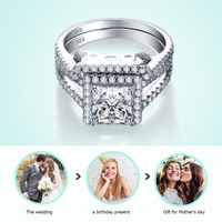 2in1 Rings Set 925 Sterling Silver Big CZ Crystal Women Wedding Princess Ring 100% Pure Genuine Silver Female Engagement Jewelry
