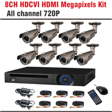 2017 New HDCVI System 720P 1.0MP HD IR Bullet Surveillance Security CCTV System 8 Channel CCTV Kit Security Camera System