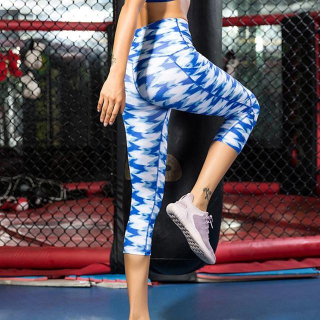 5344e8cf425896 Women's Sport Fitness Yoga Pants Tights Print High Waist Cropped Pants  Oblique Pocket Fitness Running Yoga