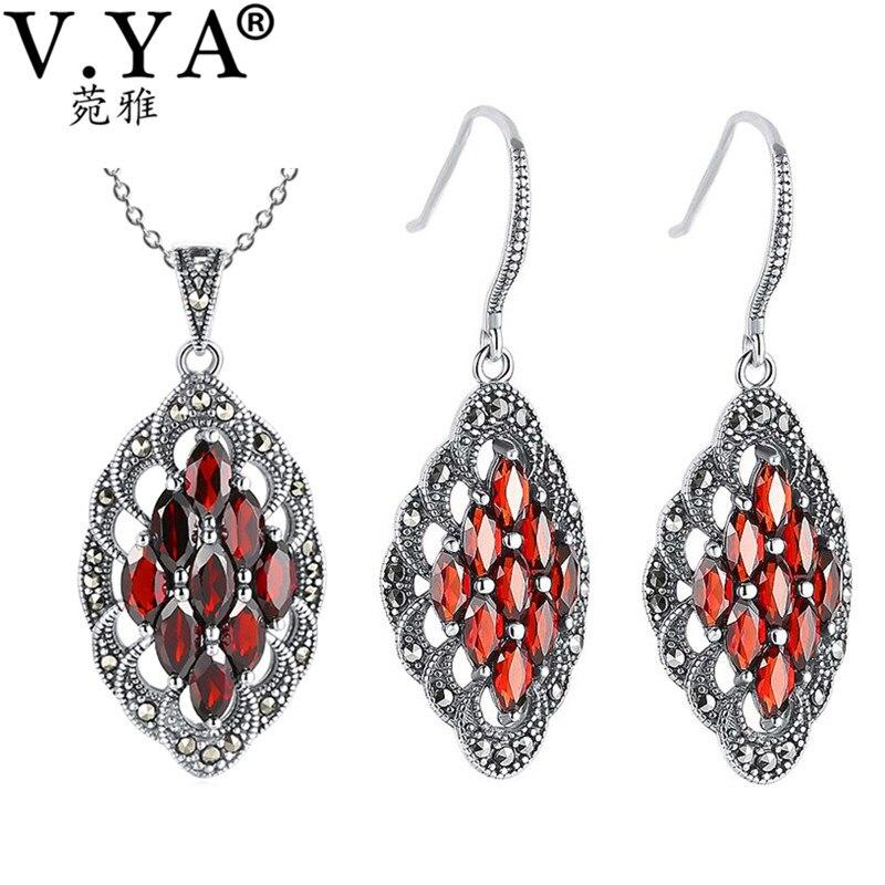 V YA 925 Sterling Silver Garnet Stone Wedding Jewelry Set Jacinth Color Nature Stone Pendant earrings