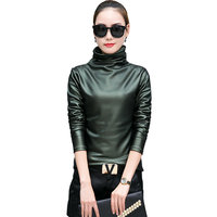 Women Blouse Fashion Turtleneck Long Sleeve Shirt Female Tops 2018 New Autumn Winter Pu Leather Plus