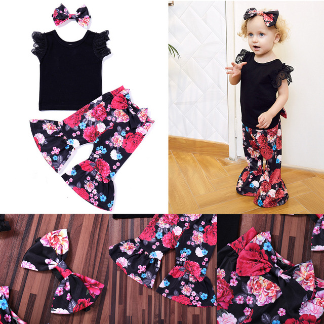 2654ec81270d3b 2PCS Toddler Kids Girl Clothing Set Off shoulder Tank Tops +Rose Flower  Bell Bottom Trouser Outfits Children Summer Clothes