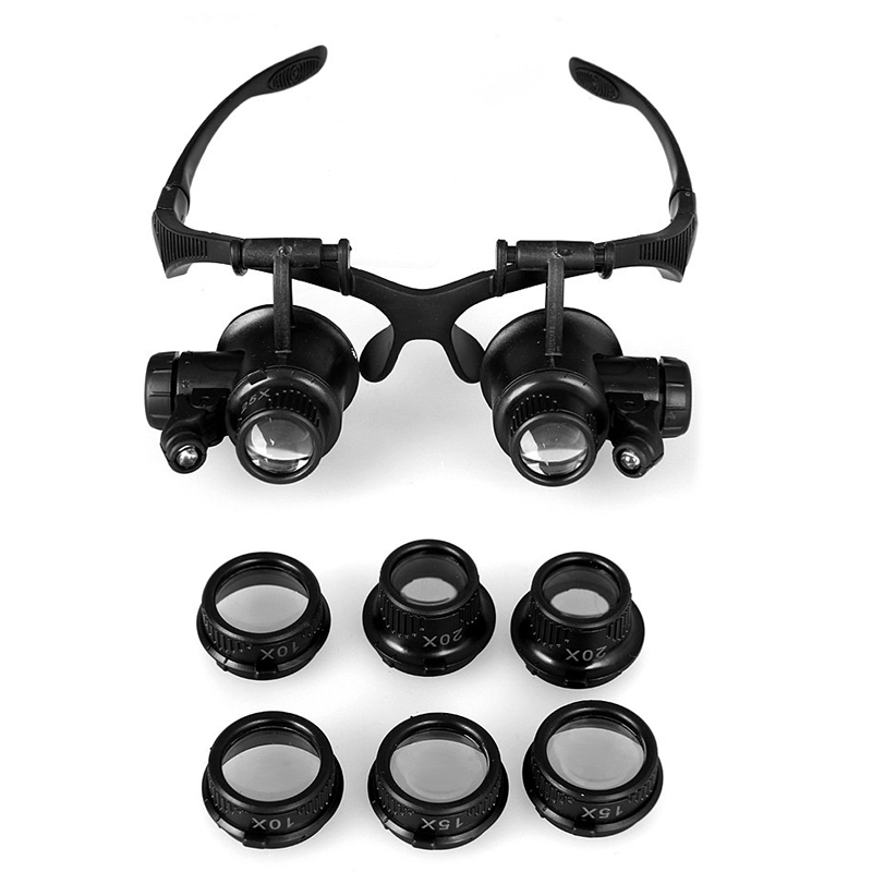 On Sale Magnifying Glass Lupa 10X 15X 20X 25X Eye Jewelry Watch Repair Magnifier Glasses With 2 LED Lights New Loupe Microscope