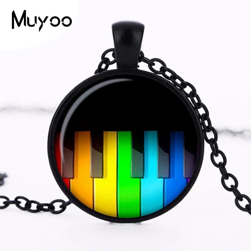 Rainbow Piano keys Necklaces Pendants Rainbow Piano Keys Pendant Choker Necklace for Women Men Mod jewelry HZ1