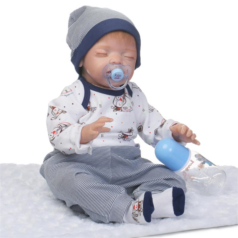 Silicone Reborn Baby Boy Toys Lifelike Cotton Body Dolls 55cm Babies Born Brinquedos Bedtime Toy Birthday Real Dolls Bonecas