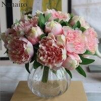 Big Size 5 Heads European Peony Flower Bouquet Artificial Silk Flower Rose Bouquet Wedding Home Party