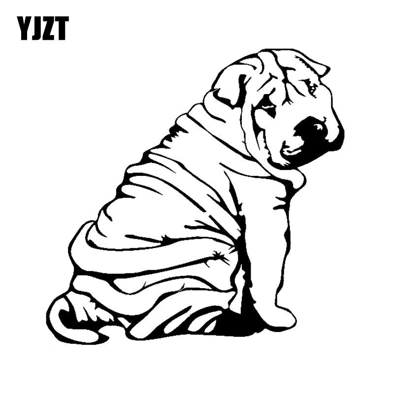 YJZT 18CM*17.9CM Decor Art Dog Animal Shar Pei Puppy Vinyl