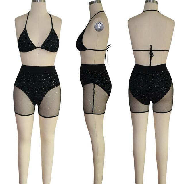 Adogirl Sheer Mesh Diamonds Night Club Two Piece Set Women Fashion Sexy Tankini Swimwear Bra Top + Summer Shorts Party Outfits 4