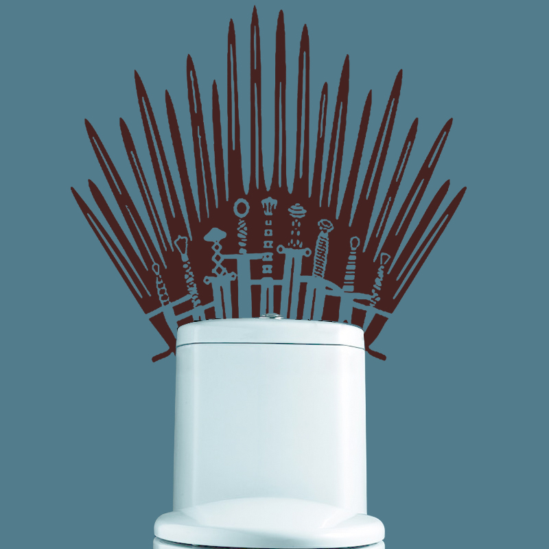 GY09 Iron Throne Toilet wall Sticker Game of Thrones katana Decal for behind your toilet on Bathroom for home decor in Wall Stickers from Home Garden