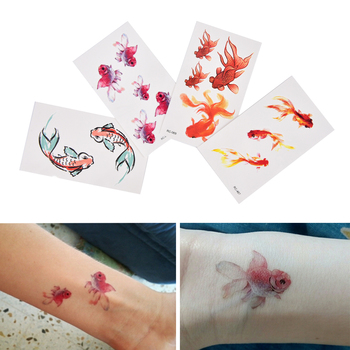 1 Sheet 3D Gold Fish Waterproof Temporary Tattoo Girl Tatto Stickers Flash Tatoo Goldfish Fake Tattoos Hot Sale