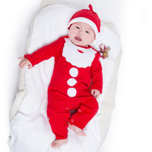 Newborn Infant Romper Beanies Set Baby Cotton Christmas Jumpsuit Autumn Winter Boys Girls Clothes Toddler Santa Clause Pajamas(China)