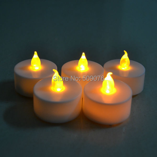 Free shipping 72pcs/lot Yellow Flickering LED Tea Light Battery Candles Flameless Xmas Wedding Party