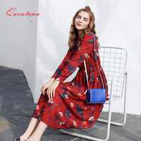 Quintina New Fashion Printed Women Dresses Mid Calf Bohemian Lady Dress Vestidos Women Clothing Spring Vintage