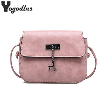 2018 New Arrival Women Leather Shoulder Bag Deer Decor Crossbody Bag Female Handbags Girl Messenger Bags High Quality